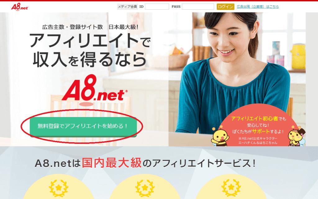 A8net(エーハチネット)登録方法